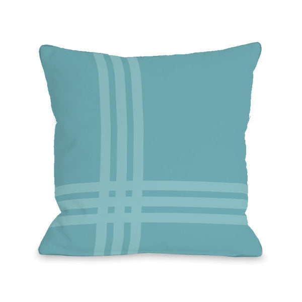 Plaid Pop Sky Outdoor Throw Pillow by OBC