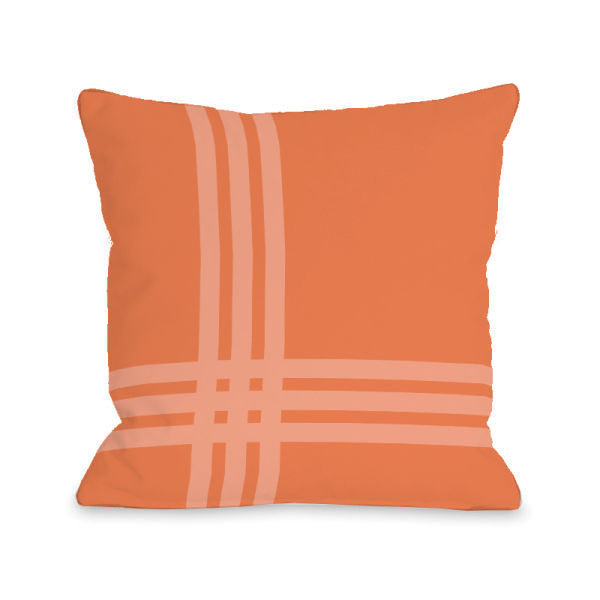 Plaid Pop Tangerine Outdoor Throw Pillow by OBC
