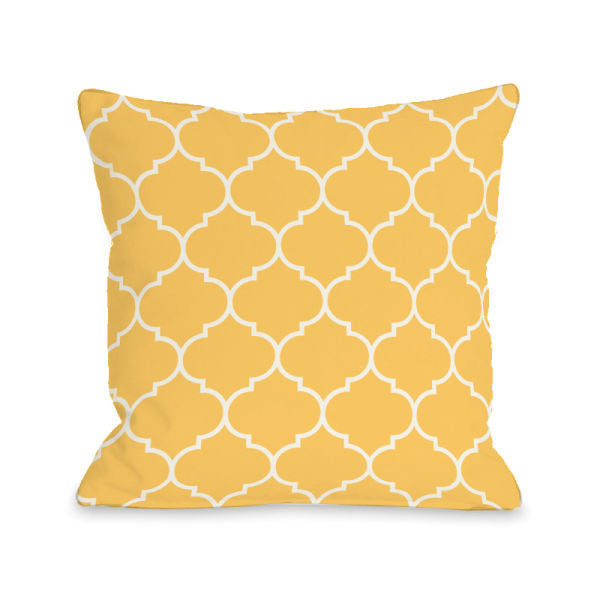 Repeating Moroccan Dandelion Outdoor Throw Pillow by OBC