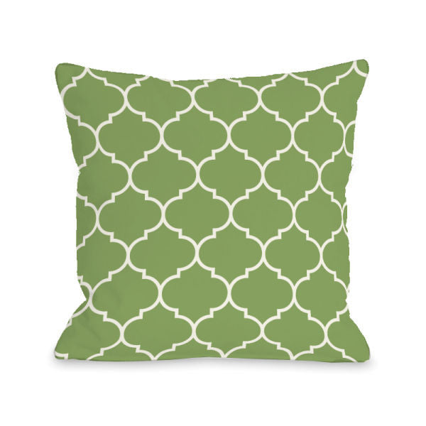 Repeating Moroccan Olive Outdoor Throw Pillow by OBC