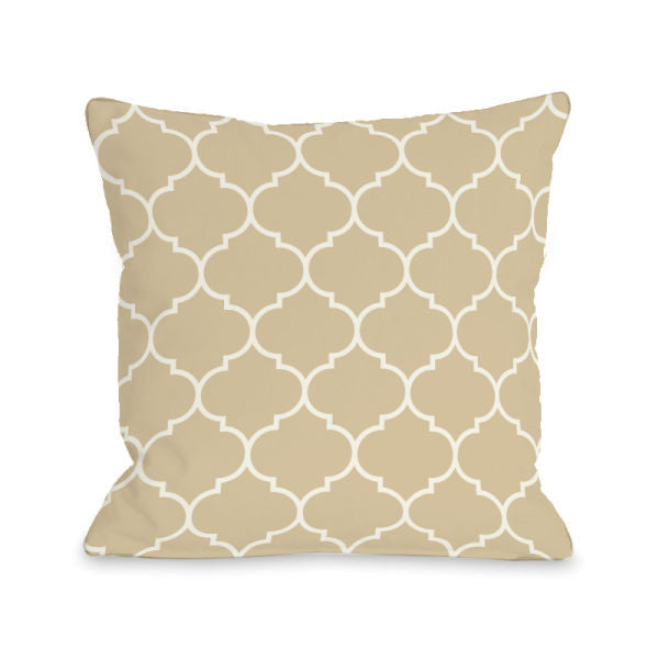 Repeating Moroccan Sand Outdoor Throw Pillow by OBC