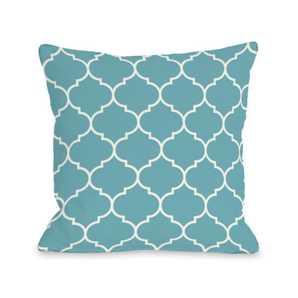Repeating Moroccan Sky Outdoor Throw Pillow by OBC