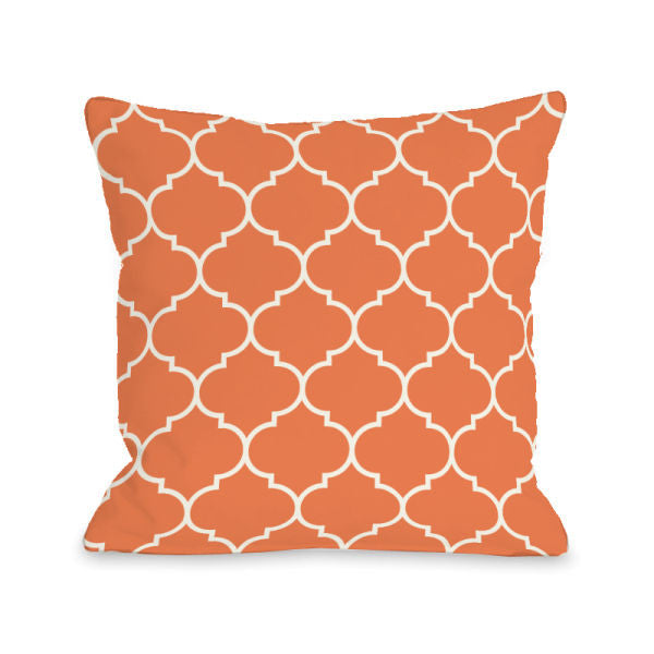 Repeating Moroccan Tangerine Outdoor Throw Pillow by OBC