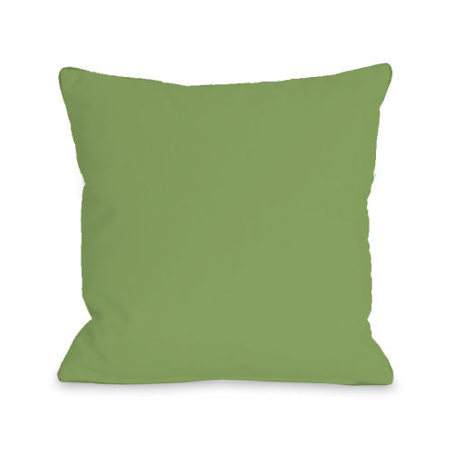 Solid Color Olive Outdoor Throw Pillow by OBC