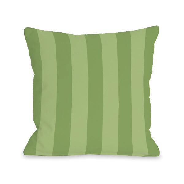 Stripey Olive Outdoor Throw Pillow by OBC