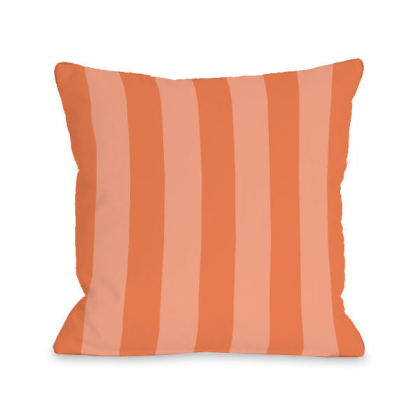 Stripey Tangerine Outdoor Throw Pillow by OBC