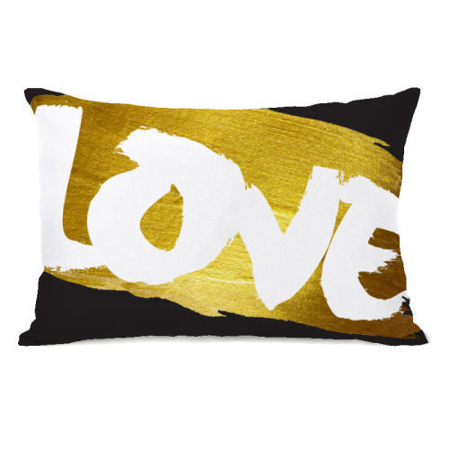 Love Paint Gold Throw Pillow by OBC
