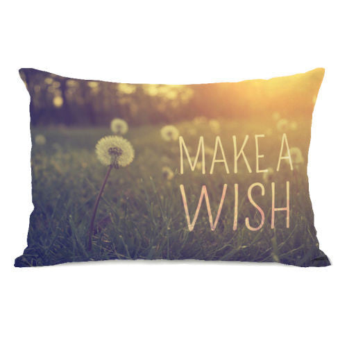 Make A Wish Dandy Throw Pillow by OBC