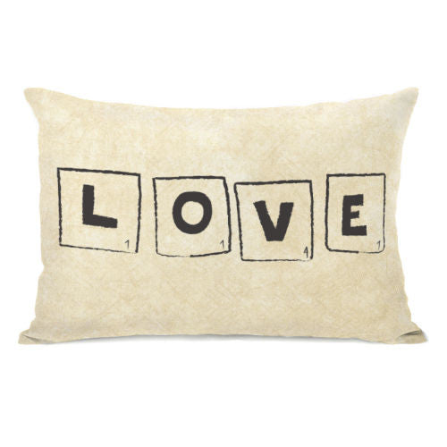 Scrabble Love Tan Throw Pillow by OBC