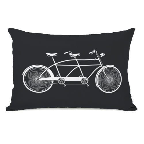 Tandem Bike Black Throw Pillow by OBC