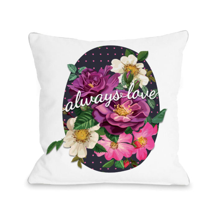 Always Love Popping Florals - Multi 18x18 Pillow by OBC