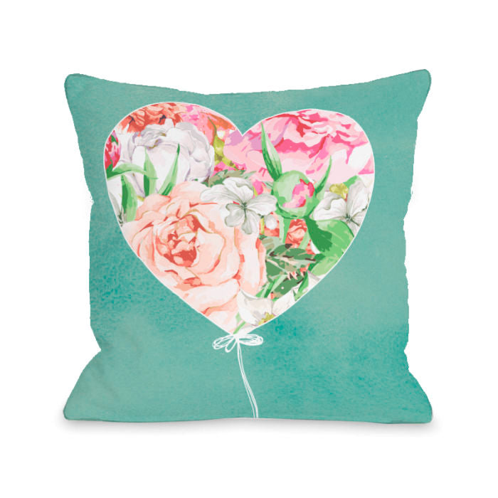 Floral Balloon Heart - Multi 18x18 Pillow by OBC