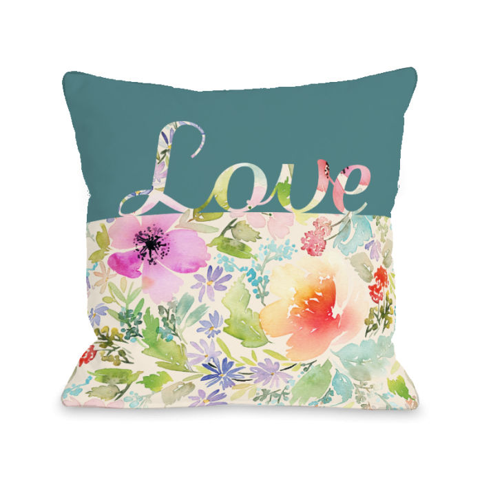 Floral Love Script - Multi 18x18 Pillow by OBC