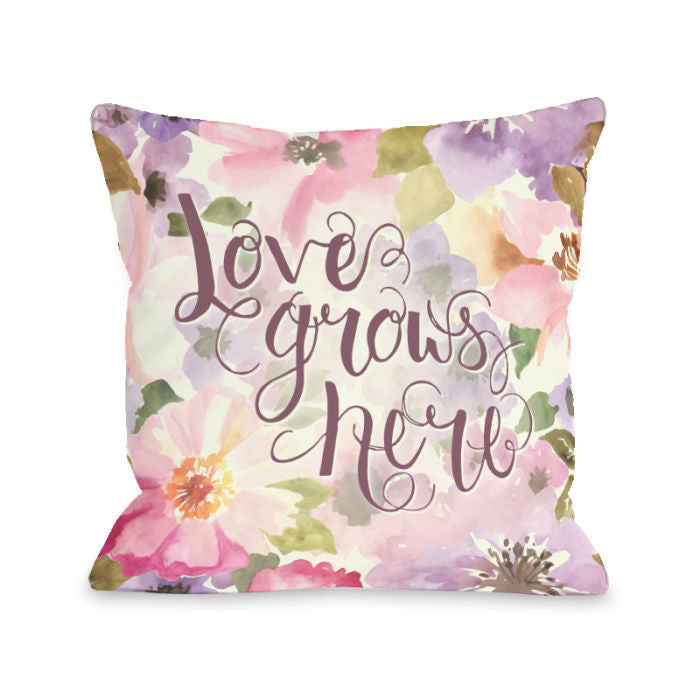 Love Grows Here Lavender Throw Pillow by OBC