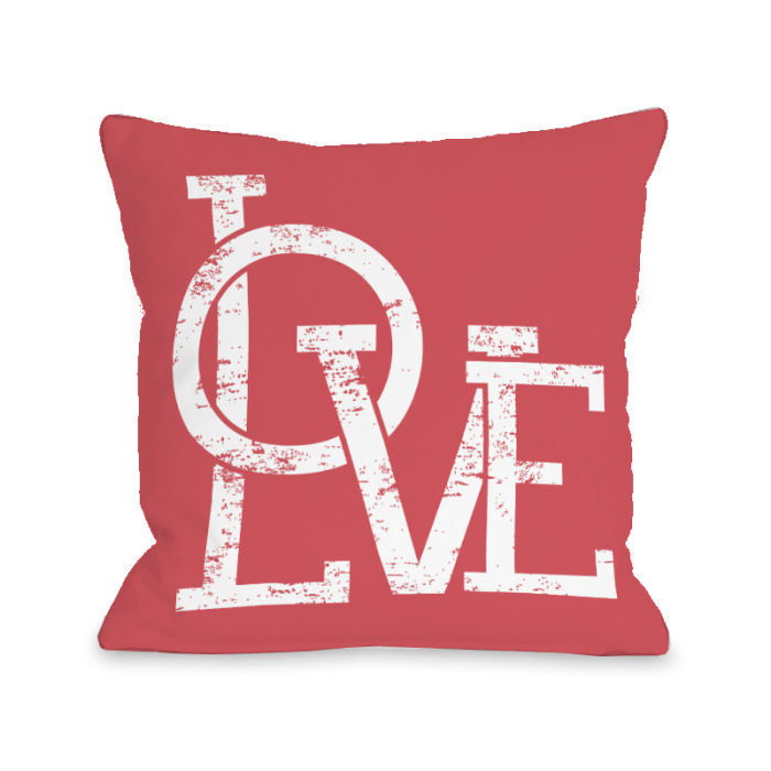 Modern Love Overlap - Red 18x18 Pillow by OBC