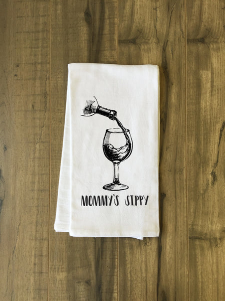 Mommys Sippy Tea Towel by OneBellaCasa.com