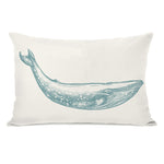 Natural Whale Throw Pillow by OBC