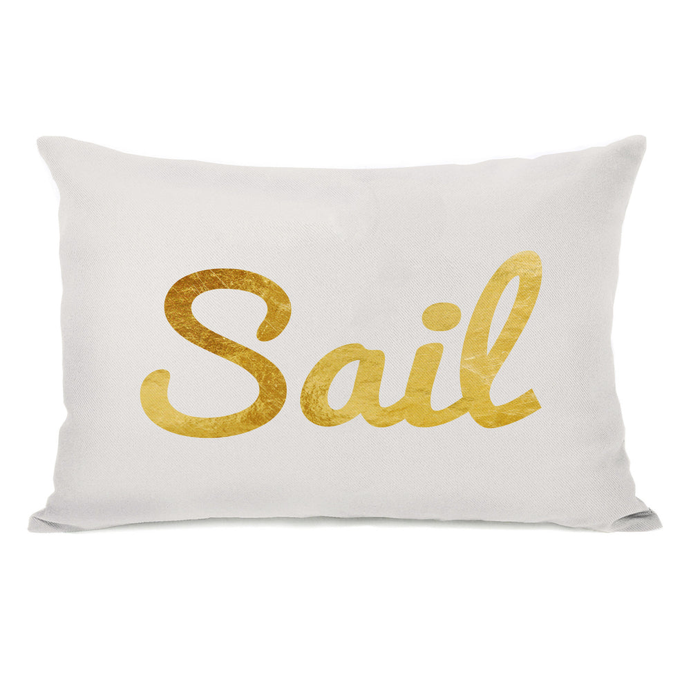 Sail Script Throw Pillow by OBC