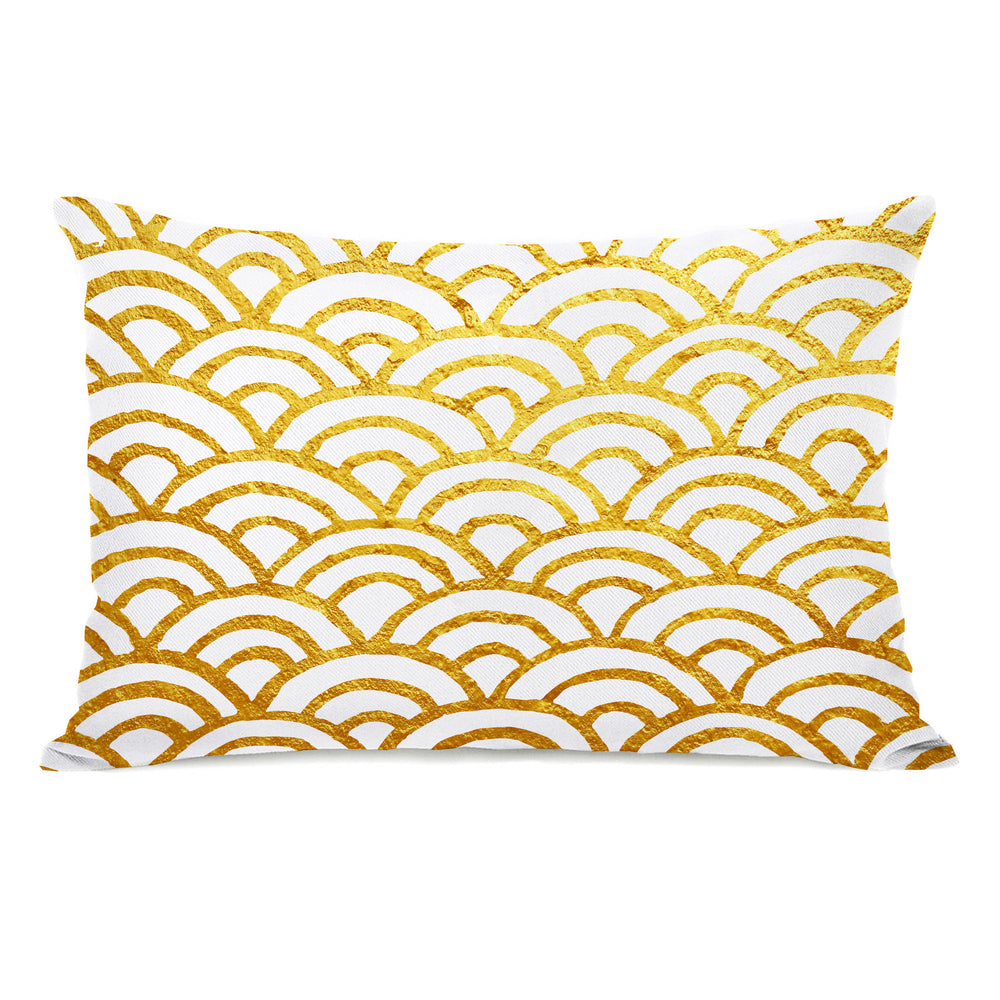 Scallop Gold Throw Pillow by OBC
