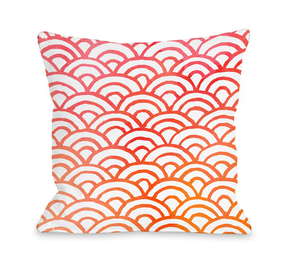Scallop Melon Throw Pillow by OBC