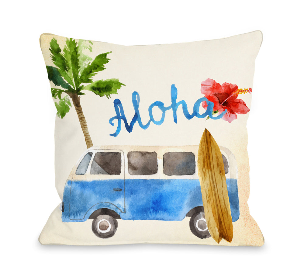 Aloha Surf Van Throw Pillow by OBC