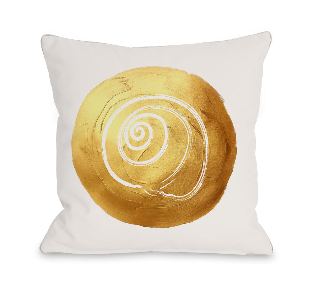 Gold Shell Circle Throw Pillow by OBC