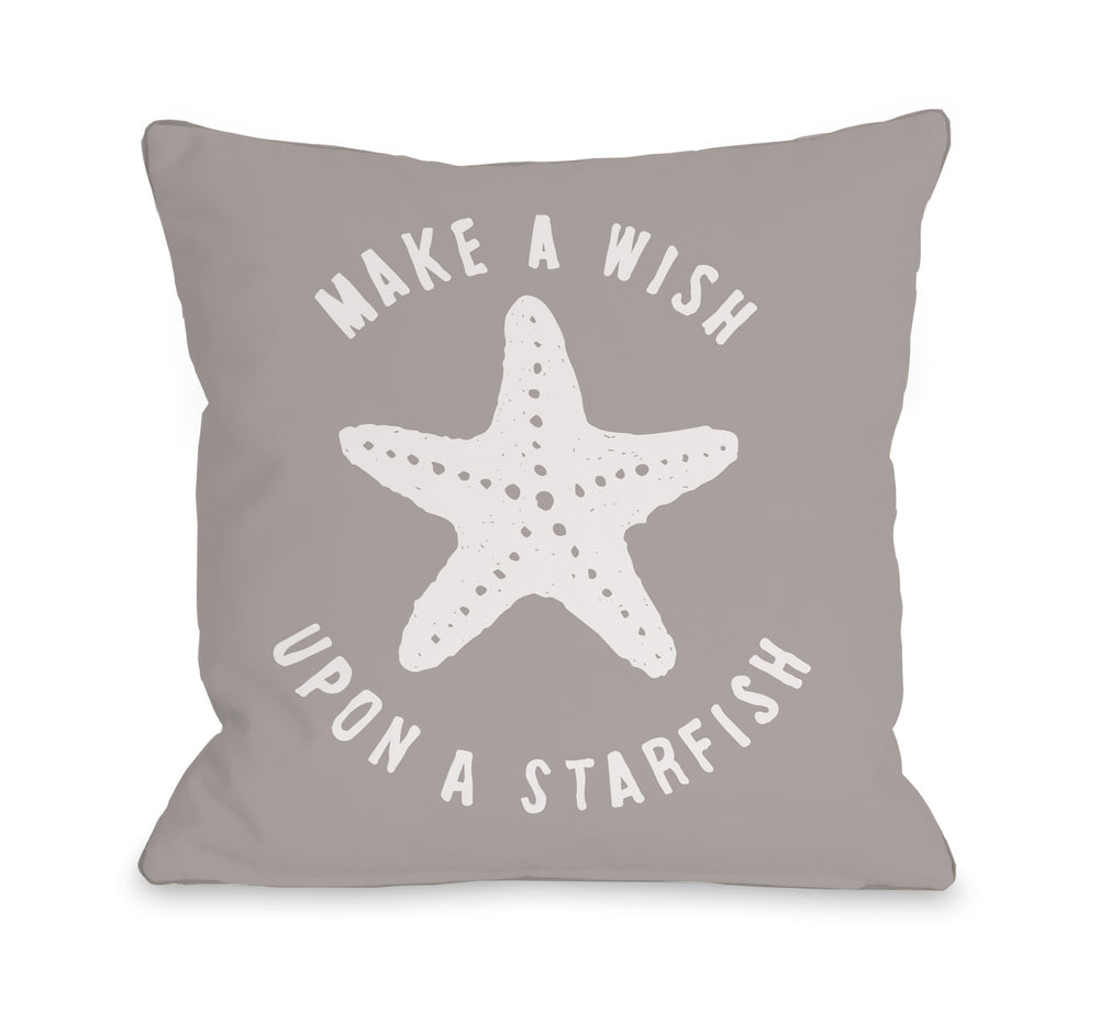 Make A Wish Starfish Throw Pillow by OBC