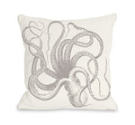 Natural Octopus Throw Pillow by OBC