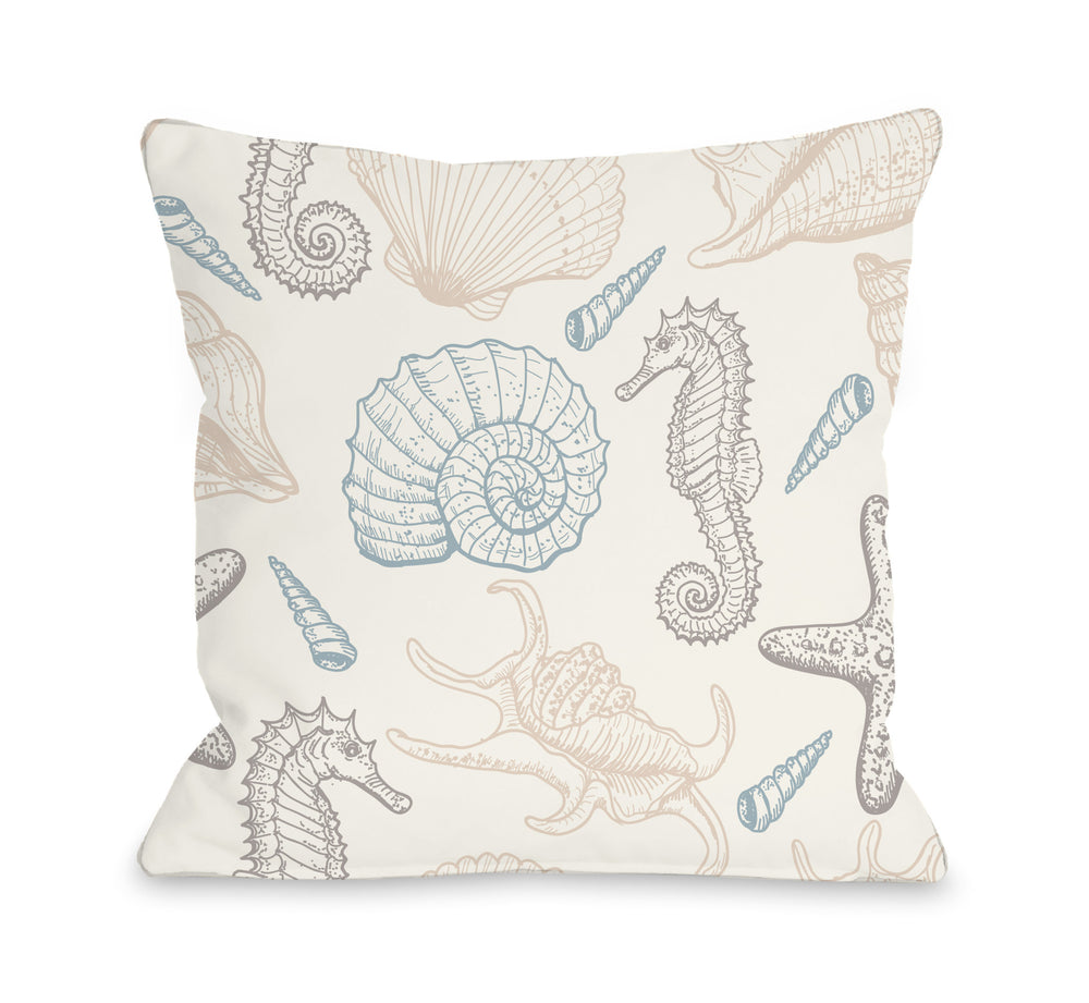 Natural Sea Life Throw Pillow by OBC