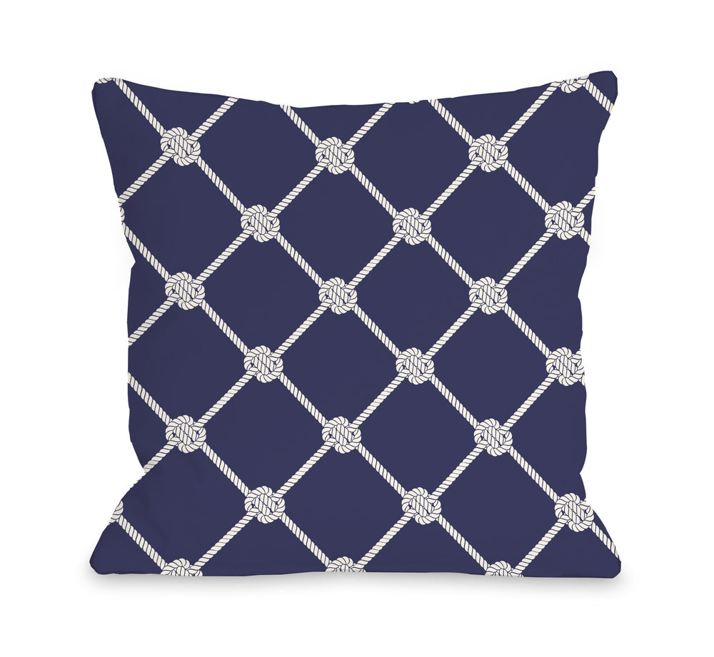 Nautical Rope Pattern Throw Pillow by OBC