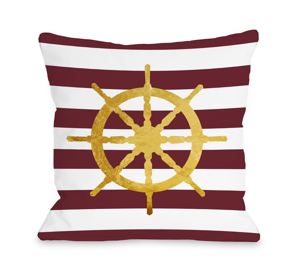 Nautical Stripes Wheel Throw Pillow by OBC