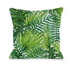 Palm Leaves Throw Pillow by OBC