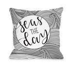 Seas The Day Black Throw Pillow by OBC