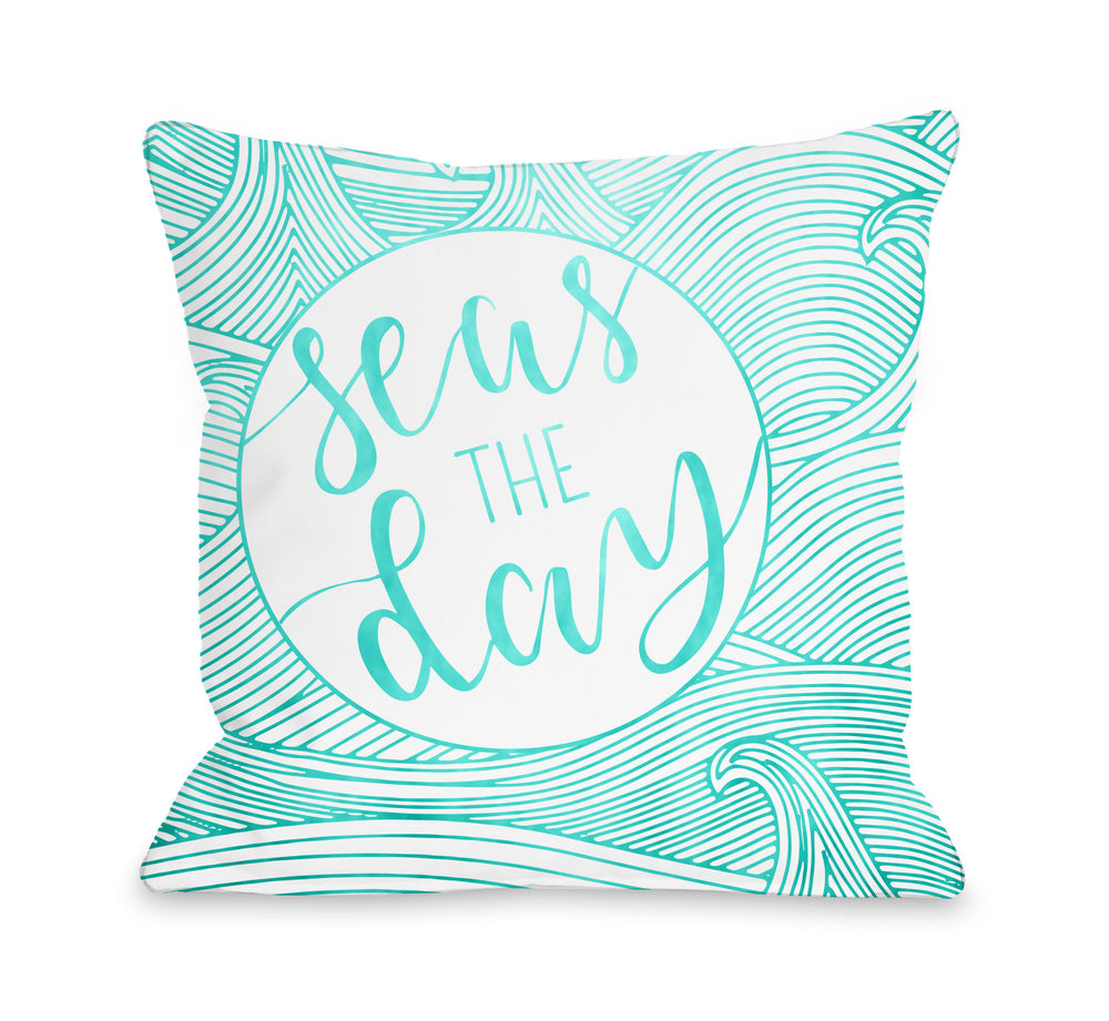 Seas The Day Throw Pillow by OBC