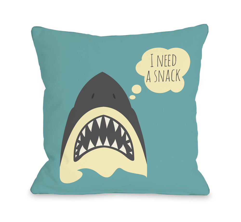 Snack Shark Throw Pillow by OBC