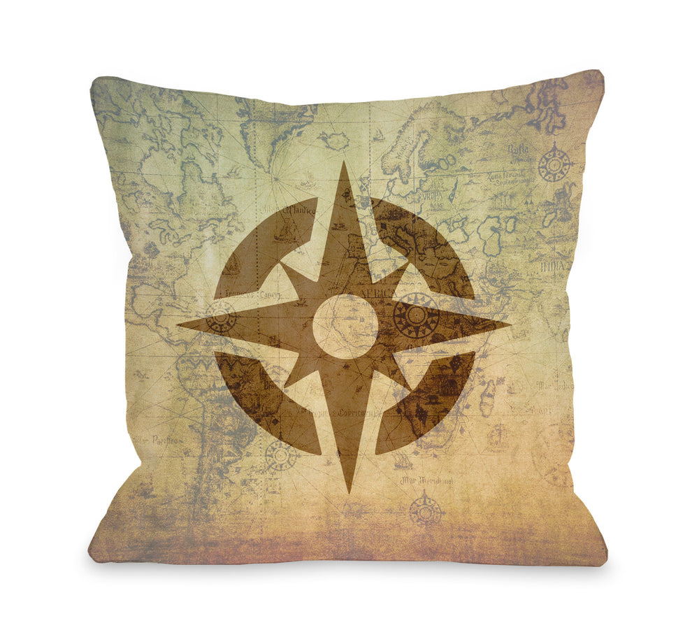 Vintage Map Compass Throw Pillow by OBC