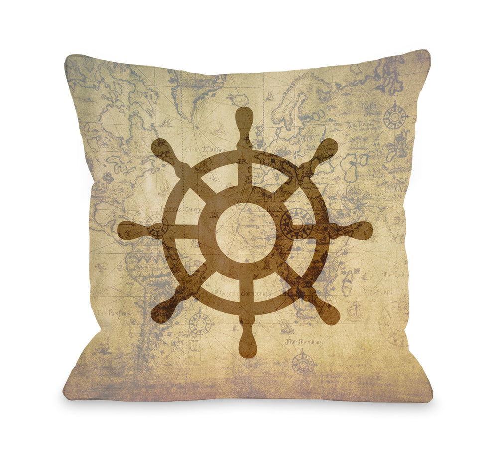 Vintage Map Wheel Throw Pillow by OBC