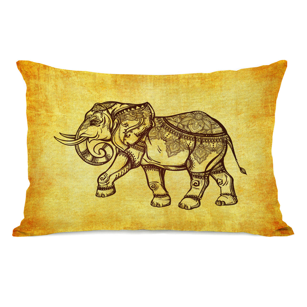 Elephant Henna Throw Pillow by OBC