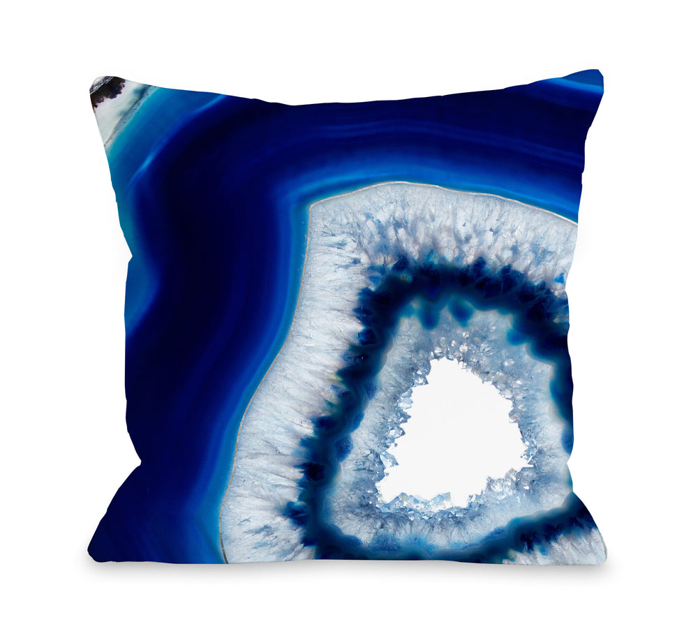 Geode Abyss Silver Throw Pillow by OBC