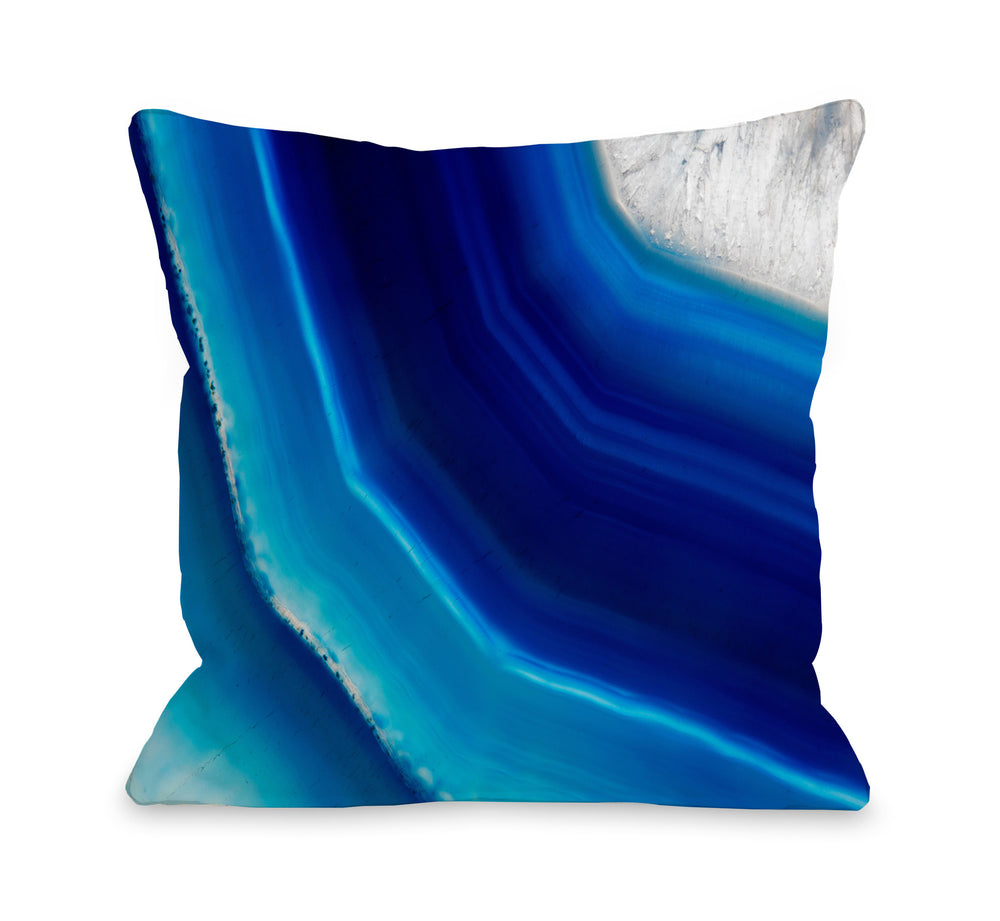 Geode Blue Throw Pillow by OBC