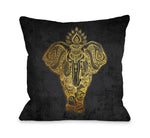 India Ele Gold Throw Pillow by OBC