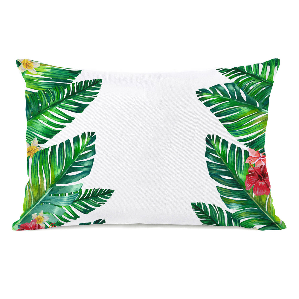 Tropical Palm Leaves Throw Pillow by OBC
