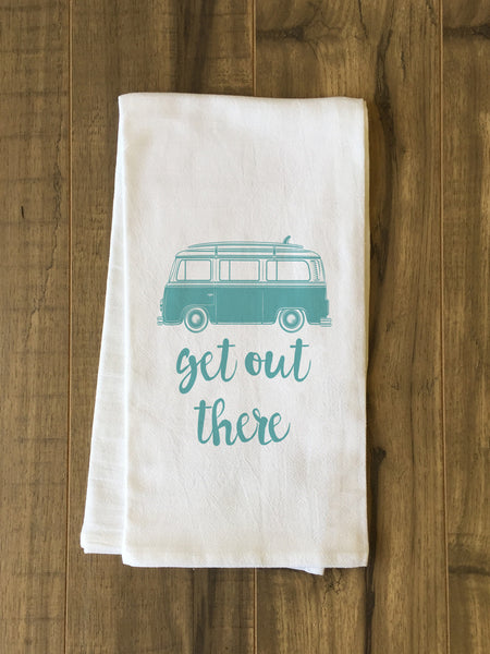 Get Out There Tea Towel by OneBellaCasa.com