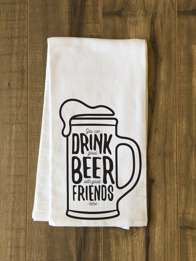 Good Beer Good Friends Tea Towel by OBC