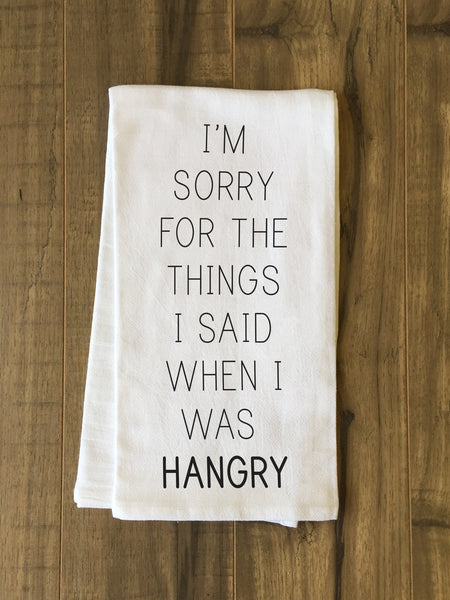 Hangry Tea Towel by OneBellaCasa.com