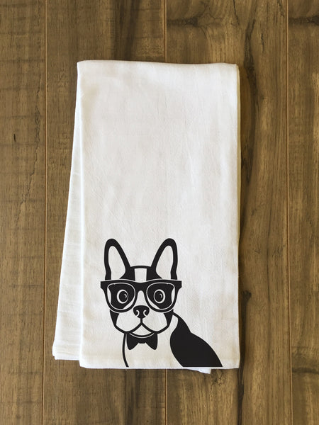Hipster Dog Tea Towel by OneBellaCasa.com