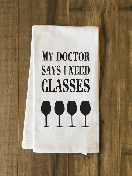I Need Glasses Tea Towel by OneBellaCasa.com