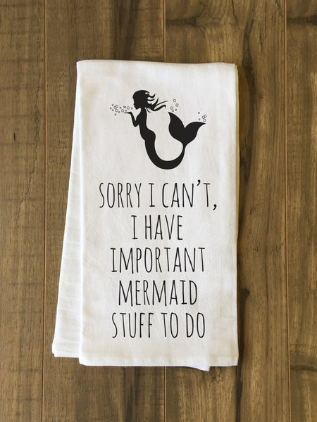 Important Mermaid Stuff Tea Towel by OneBellaCasa.com