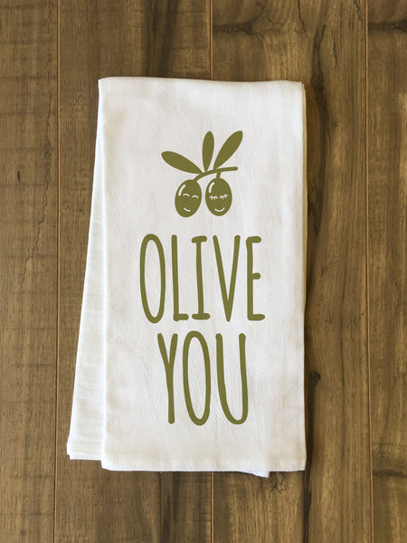 Olive You Tea Towel by OneBellaCasa.com