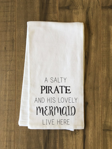 Salty Pirate Lovely Mermaid Tea Towel by OneBellaCasa.com